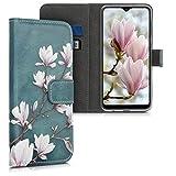kwmobile Wallet Hülle kompatibel mit Samsung Galaxy A10 - Hülle mit Ständer Kartenfächer Magnolien Taupe Weiß Blaugrau