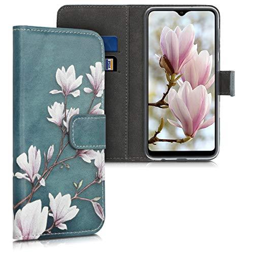 kwmobile Funda Compatible con Samsung Galaxy A10 - Carcasa de Cuero sintético Magnolias - con Tarjetero