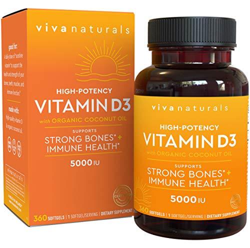 Viva Naturals High-Potency Vitamin D3, 5,000 IU, 360 Softgels