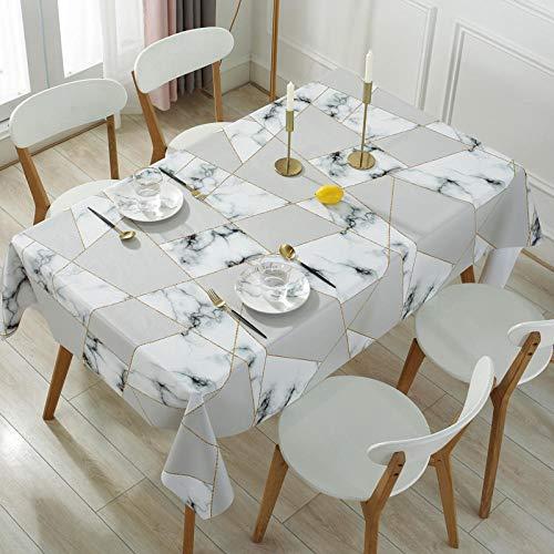 Yinaa Mantel para Mesa Patrón de Cocina Salón Rectangular PVC Resistente Al Desgaste y Duradero Impermeable Lavable Diseño de Comedor Blanco y Negro 120×160cm.