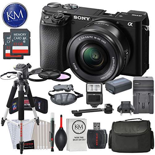 Sony Alpha a6100 Mirrorless Digital Camera w/ 16-50mm Lens (Black) and Striker Deluxe Bundle w/Large Tripod