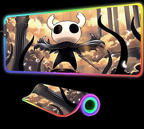 Alfombrilla de ratón Hollow Knight Gods Glory, Gran RGB, para Juegos, Teclado con Borde de Bloqueo, luz LED, 7 Colores deslumbrantes, Alfombrilla de Escritorio, 800x300x4 mm
