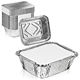[100 Pack] Rectangular 1 lb 16 oz Pint 6 x 5 x 2' Disposable Aluminum Foil Pan Take Out Food Containers with Flat Board Lids, Hot Cold Freezer Safe