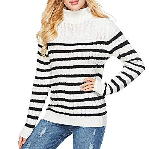 Sweaters Damen Pullover Damen Elegant Hoher Kragen Lange Ärmel Schlank All-Match...