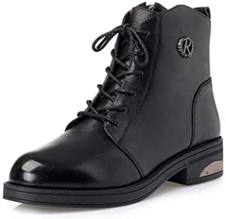レディースブーツ、ヨーロッパアメリカレザーブーツウィンターブーツレザープラスベルベットブーツラウンドトゥレディースシューズミッドヒールブーツNew Martin Boots (色 : ブラック, サイズ : 37)