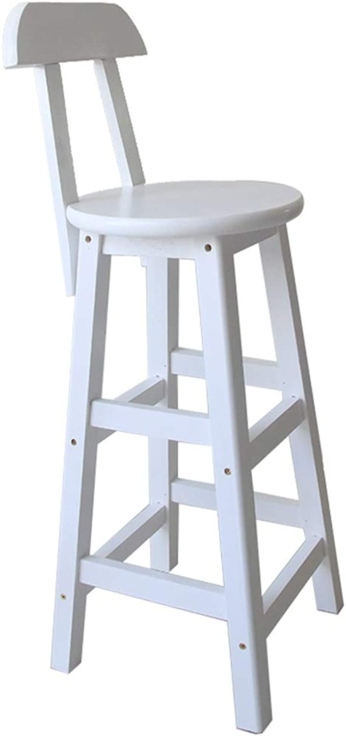 Counter Chair, Wood with Backrest Bar Chair Barbecue Water Bar Bar Stool Dessert Shop Convenience Store High Stool Height 60-80CM (color   White, Size   33  80CM)