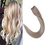 LaaVoo 14pulgada/35cm Highlight Ash Blonde y Lejia Rubia Halo on Human Hair Natiral de Extensiones de Cabello Humano Remy Invisibles Hilo Total 80Gramo/Set