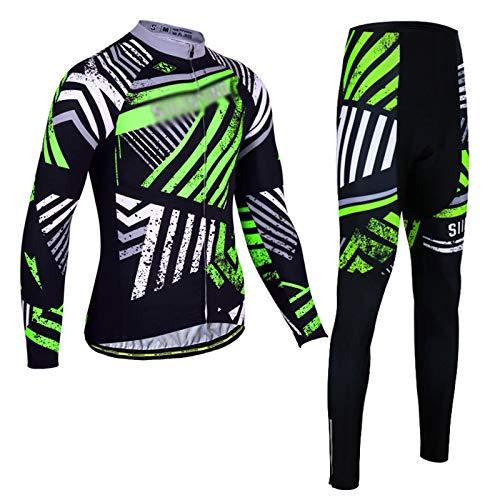 Camisetas De Ciclismo para Hombre Trajes De Ciclismo De Manga Larga Ropa De MTB con Pantalones Cortos con Babero De Almohadilla De Gel 3D para Ropa De Equipo Profesional (Color : Green, Size : M)