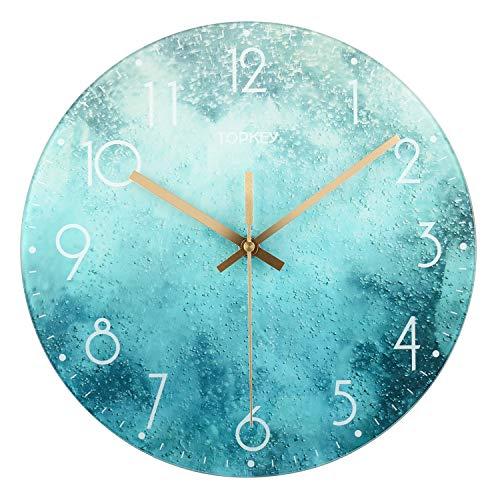 Topkey Reloj de pared de cristal verde