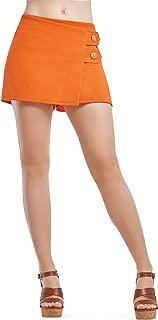 Short Falda Naranja De Dama con Botones