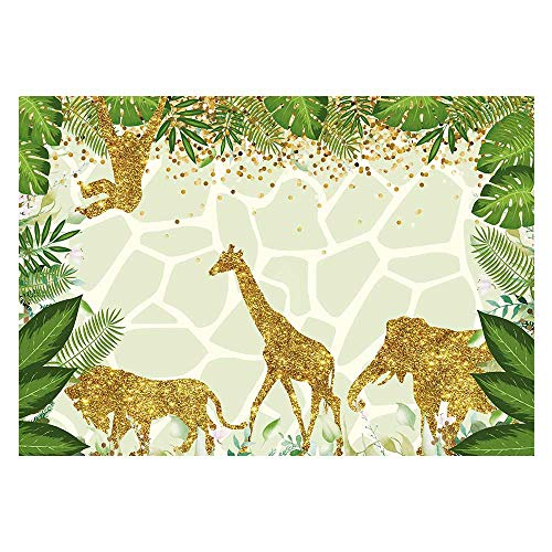 Funnytree 7x5ft Safari Jungle Theme Birthday Party Backdrop Golden Glitter Wild One Animals Photography Background Summer Tropical Leaves Baby Shower Cake Table Decoration Photobooth Studio Props