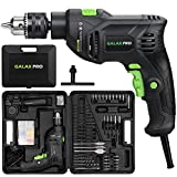 GALAX PRO 5Amp 1/2-inch Corded Impact Drill with 105pcs Accessories, Variable Speed 0-3000, Hammer and Drill 2 Functions in 1, 360°Rotating Handle, Depth Gauge, Carrying Case Included
