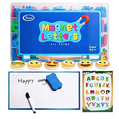 All Prime 247Pc Magnetic Letters and Numbers for Toddlers -Includes Magnet Board, Emoji Magnets, ABC Education Sheet, Math Magnets & More -Upper and Lowercase ABC Magnets for Kids and Classrooms from All Prime
