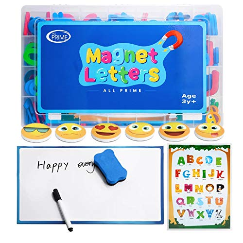 All Prime 247Pc Magnetic Letters and Numbers for Toddlers -Includes Magnet Board, Emoji Magnets, ABC Education Sheet, Math Magnets & More -Upper and Lowercase ABC Magnets for Kids and Classrooms