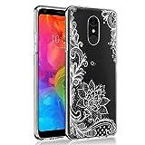 Eouine LG Q7 Hülle, Schutzhülle Silikon Transparent mit Muster Motiv Handyhülle [Ultra Dünn] Slim Stoßfest Weich TPU Bumper Hülle Backcover für LG Q7 5,5 Zoll Smartphone (Weiße Blume)