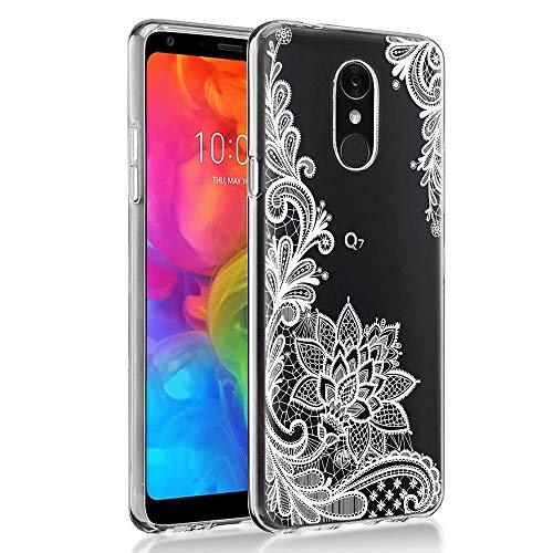 """Cover LG Q7, Eouine Custodia Cover Silicone Trasparente con Disegni Ultra Slim TPU Silicone Morbido Antiurto 3D Cartoon Bumper Case per Huawei LG Q7 2018 5,5"""" Smartphone (Fiore Bianco)"""