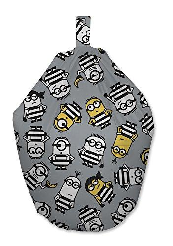 Despicable Me Minion Jailbird Design Sitzsack Stuhl für Schlafzimmer und Spielzimmer, Stoff, Grau, 52x 38x 52cm