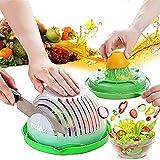 Salad Cutter Bowl, Salad Chopper Bowl, Fruit Vegetable Cut Set, Vegetable Drain Bowl, Upgraded Juice Making and Salad Make, Fresh Salad Slicer, Approved for Kitchen