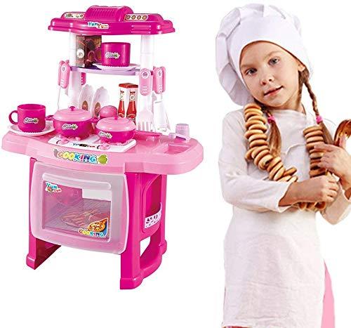 MOOUK Küche Spielset, Chief Rollenspiel Set Simulation Lichter Geräusche mit Topf, Pfanne, Kaffeetasse und Etc Kinder Spielzeug Geschenk für Kinder über 3 Jahre Alt - Rosa, Einheitsgröße