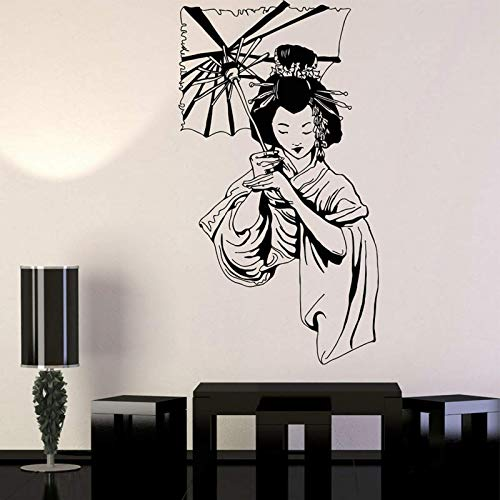 Geisha Ragazza Giapponese Ombrello Adesivi Stile Asiatico Vinile Home Decor Adesivo murale Interno Rimovibile Murale Donna con Ombrello 42x76cm