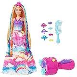 Barbie Dreamtopia poupée Princesse Tresses Magiques aux longs cheveux blonds avec extensions multicolores, peigne et accessoires, jouet pour enfant, GTG00