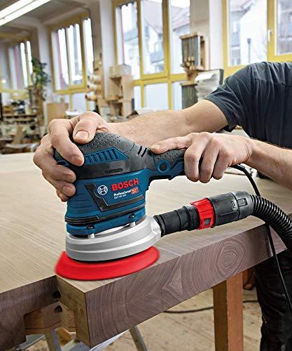 Bosch Professional ponceuse excentrique GEX 40-150 (avec poignée supplémentaire, boîtier récupérateur de poussière, ⌀ de plateau 150 mm, disque C470 pour bois, adaptateur d'aspiration, dans carton)