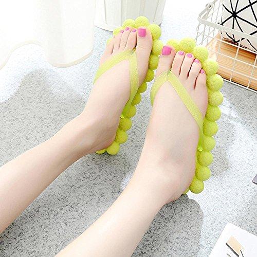 Bluelover Elunla Femme Candy Couleur Plat Sandales Été Sandales Salle De Bain Plage Casual Massage Chaussures Pantoufles - Jaune - 5