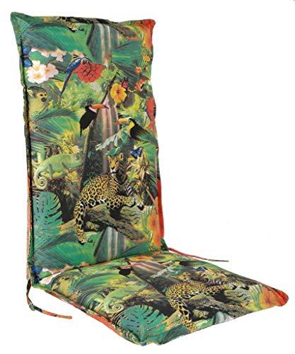 Spetebo Cuscino per sedia a sdraio con schienale alto, di facile manutenzione, colore nero, per sedia da giardino con cinghia, cuscino per sedia (modello 11)