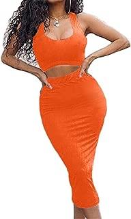 orange midi skirt outfit