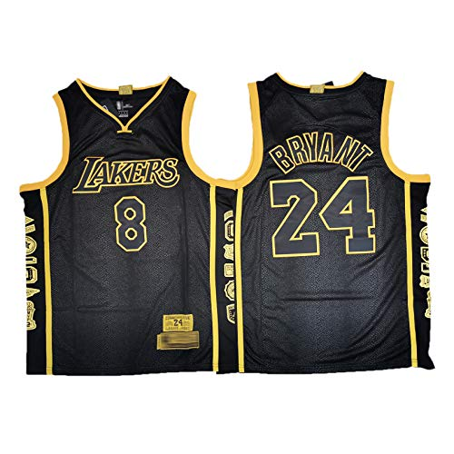 GAOJR Lakers Bryant Jersey, Front 8# Back 24#, Camiseta Sin Mangas, Chaleco Transpirable para Entrenamiento De Competición Running (Negro) M