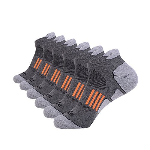 JOYNÉE Men's 6 Pack Athletic No Show Performance Comfort Cushioned Low Cut Running Tab Socks,Grey 1,Sock Size:10-13