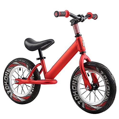 Bicicleta de Equilibrio de 12 Pulgadas Bicicleta sin pedales NiñOs Scooter sin Pedales Scooter Resbaladizo para BebéS 2-6 añOs Bicicleta para NiñOs PequeñOs/red / 12inch
