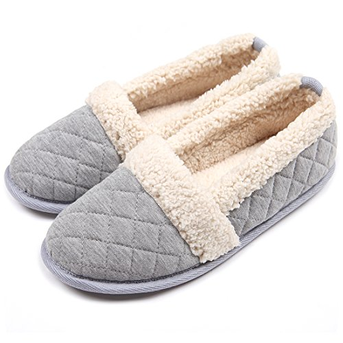 ChicNChic Women Plush House Slippers Ladies Non Slip Indoor Winter Bedroom Shoes (7-8 B(M) US, Grey)