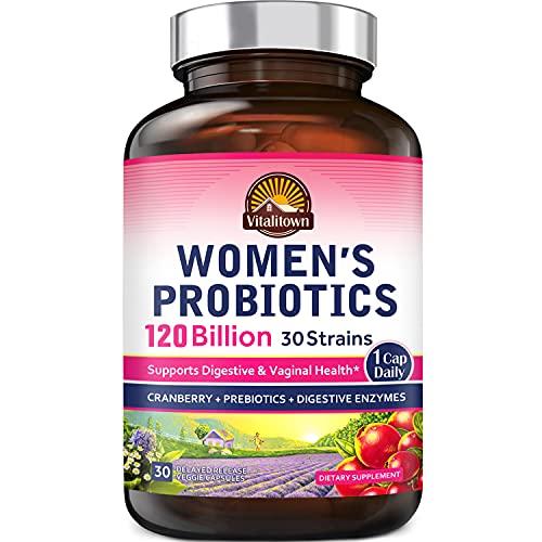 Vitalitown Women's Probiotics 120 Billion CFUs 1 Daily | 30 Strains, with Prebiotics & Digestive Enzymes & Cranberry | Shelf Stable | Gut & Vaginal Health | Vegan Non-GMO | 30 Delayed Release Veg Caps