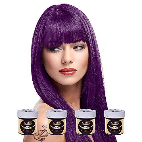 La Riche Directions Semi-Permanente Haarfarbe 4er Pack (Plum Purple) + KOSTENLOSES Blue Banana Sugar Skull Täschchen