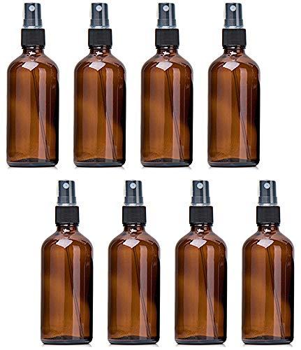 XGzhsa Botella de spray de vidrio ámbar, Botella de spray de vidrio marrón vacía, Conjunto de botella de spray reutilizable con bombas de spray, adecuado para aceites esenciales, perfumes (8 piezas)