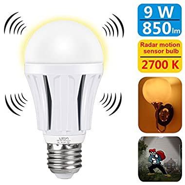 LUXON Motion Sensor Light Bulb 9W Smart Bulb Radar Dusk to Dawn LED Motion Sensor Light Bulbs E26 Base Indoor Sensor Night Lights Soft White 2700K Outdoor Motion Sensor Bulb Auto On/Off