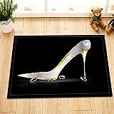 Plata oro tacones altos con cristal interior antideslizante puerta estera, alfombra de baño, patrón de alta definición 40* 60cm, decoración casera