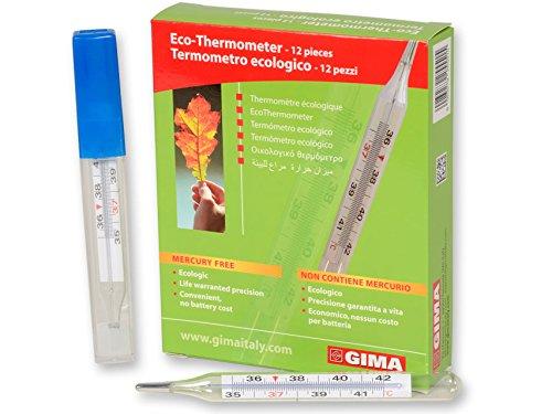 Klinische thermometer van glas, zonder kwik, nauwkeurig, gecertificeerd – doos 12 stuks