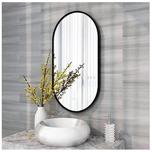 NO BRAND BGJZ Espejo De Pared Ovalado Espejo con Marco De Aluminio Grueso De 40 Mm para Decoración De Pared Oro Negro Opcional Decoración De Pasillo De Baño Horizontal/Vertical Hotel