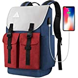Travel Laptop Backpack, College School Laptop Backpack with USB Charging Port for Men Women, Water Resistant Computer Bag Rucksack Casual Bookbag Hiking Daypack Fits 15.6 Inch Laptop