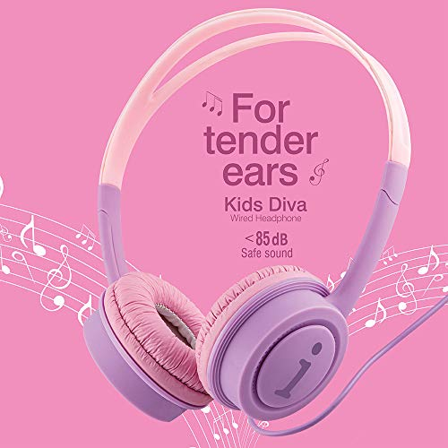 iBall Kids Diva Wired Headphone with in line Volume Controller (Violet and Pink)