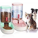 UniqueFit Pets Gatos Perros Riego automático y alimentador de Alimentos 3.8 L con 1 * dispensador de Agua y 1 * alimentador automático para Mascotas (Rosa+Verde)