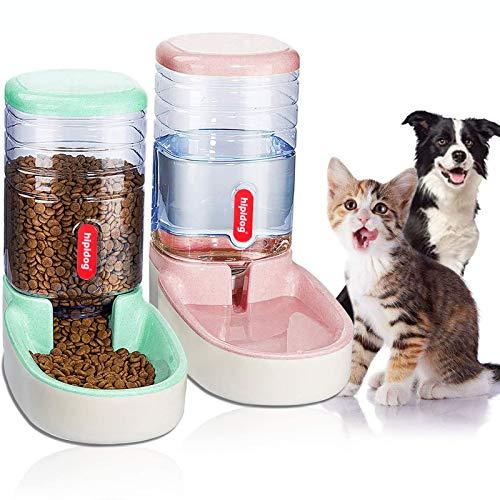 Animali Domestici Cani Gatti Automatico Waterer e Cibo Feeder 3.8 l con 1 Dispenser di Acqua e 1 Pet Alimentatore Automatico, Mocassini Eleganti da Donna (pink+green)