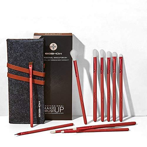 Make-up-Pinsel 11-teilig, essenzielle Lidschatten-Pinsel-Set, Lidschattenpinsel vegan inkl. Mischpinsel, Detailpinsel, Augenbrauenpinsel, Eyeliner-Pinsel mit gebogener Spitze