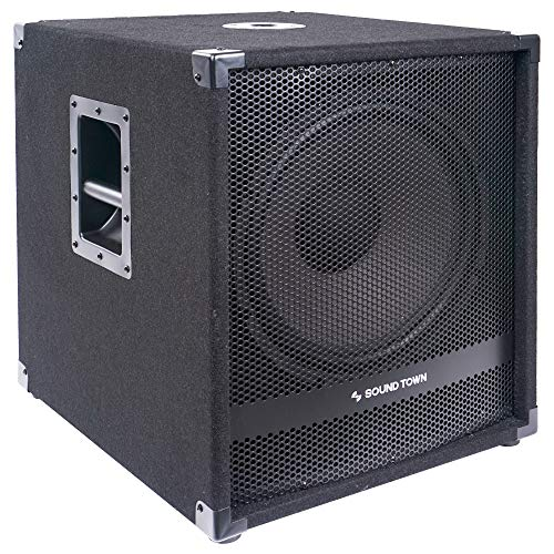 """Sound Town 1600 Watts 15"""" Active Powered Subwoofer with 2 Speaker Outputs, DJ PA Pro Audio Sub with 4 inch Voice Coil (METIS-15SPW2.1)"""