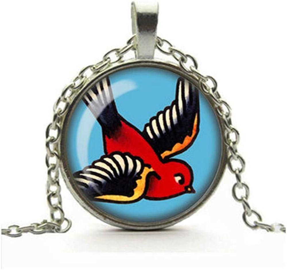 Dandelion Swallow Tattoo Necklace, Retro Glass Cameo Pendant, Rockabilly Jewellery, Alternative Jewelry