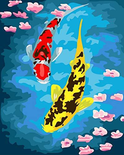 Vanzelu Photo Riche Peinture De Poisson par Numéros Moderne Mur Art Art Peint À La Main Peinture À l'huile sur Toile pour La Maison Decor40x50cm Cadeau Cadre
