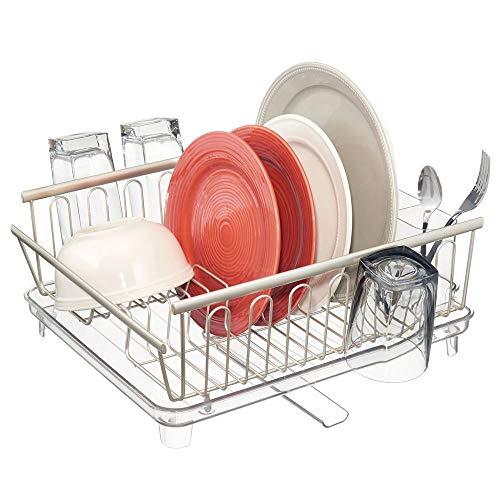 mDesign étendoir à vaisselle – sèche-vaisselle avec bac d'égouttement et bec égouttoir réglable – égouttoir à vaisselle en métal et plastique pour cuisine et évier – argenté/transparent