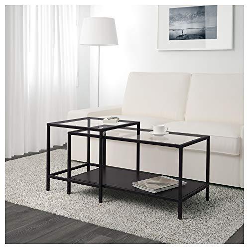 IKEA Vittsjö stoły do gniazda, zestaw 2 szt, czarno-brązowe, szkło